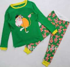 children long sleeve green cotton pajamas# C-044\ kids garment \ free shipping