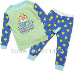 boy long sleeve cute cartoon PORORO clother set \ baby pajamas #C-094 \ wholesale & retail \ free shipping