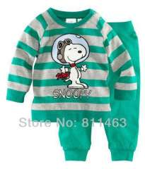 children long sleeve green striped snoopy cotton pajamas \ wholesale & retail \ free shipping