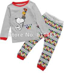kids gray cartoon pajamas # C-064 \ baby long sleeve clothing set \ free shipping
