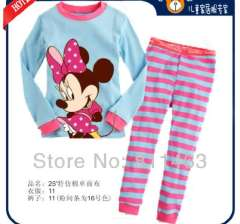 children long sleeve minnie mouse cotton pajamas #XC-140 \ wholesale & retail \ free shipping