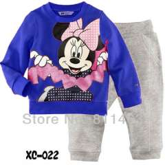 kids cute cartoon mickey long sleeve blue cotton pajams #XC-106 \ baby comfortable sleepwear \ wholesale \ free shipping