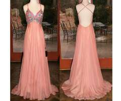 Hot Sale Chiffon Pink Prom Dresses 2015 New Beading Long Bridesmaid Dress Real Pictures Bridal Gown Free Shipping