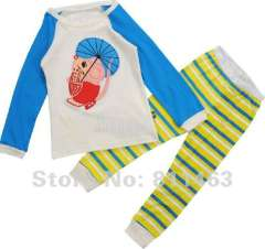 kids long sleeve blue cotton pajamas# C-047\ baby wear \ children clothes \ free shipping