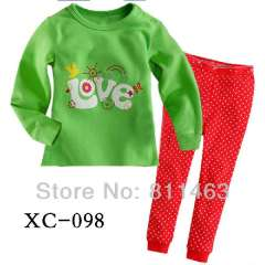 girl cute cartoon garment #XC-098 \ baby long sleeve 100% cotton pajamas \ wholesale \ free shipping