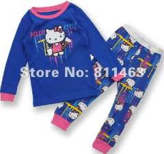 girl hello kitty long sleeve cotton pajamas # C-100 \ kids wear \ free shipping