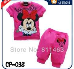 Girls lovely short sleeve rose red minnie mouse pajamas #CP-038 \ children summer clothing set \ free shipping
