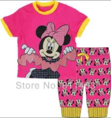 best gift for girl \ children short sleeve pink minnie clothering set #CP-027 \ wholesale & retail