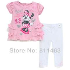 baby summer clothes set \ short sleeve pink minnie T-shirt + white leggings \ size 12M, 18M, 24M