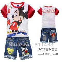2013 baby boys summer short sleeve red micky mouse garment # DTZ9913 \ children sports suit \ baby clothing set