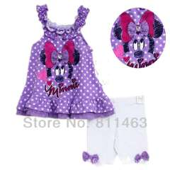baby purple braces minnie dress + white shorts summer clothes \ girl's wear \ size 12M, 18M, 24M