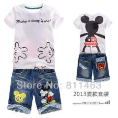 New arrival children boys summer short sleeve micky mouse sports suit # DTZ9908 \ kids clothes set