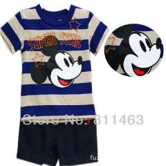 2013 boys summer casual sports suit \ short sleeve mickey T-shirt + jean shorts \ 6pcs\lot, size 12M.18M, 24M