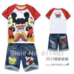 children boys summer short sleeve cartoon couples of mickey mouse sports suit # DTZ9914 \ kids clothing set \ baby garment