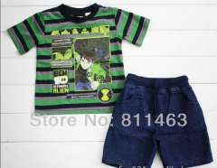 children boys fashion summer sports suit \ green striped short sleeve T-shirt +jean shorts