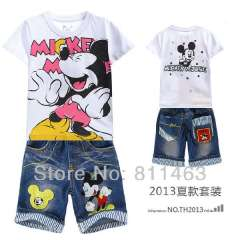 2013 new casual children boys summer short sleeve mickey mouse clothing set # DTZ9903 \ kids sports suit