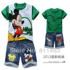 Children boys summer clothes set #DTZ9902\ short sleeve green mickey mouse T-shirt +denim middle-length pants