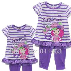 Hot selling girl short sleeve light purple dress + middlen length pants summer clothes \ size 4Y to 7Y