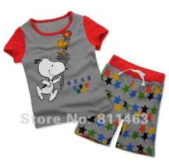 kids short sleeve 100% cotton pajamas #L-082\ boy's wear \ free shipping