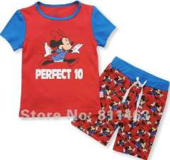 chilren cute cartoon mickey short sleeve 100% cotton pajamas #L-079\ kids fashion clothes \ free shipping