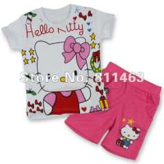 Girl cute cartoon hello kitty pajamas # L-131\ kids summer wear \ children short sleeve clothering set \ free shipping