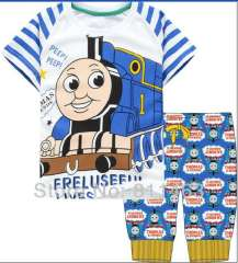 Children short sleeve Thomas blue 100% cotton pajamas #CP-021\ 6pcs\lot, size 2Y to 7Y