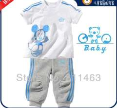 2013 Boys long sleeve cartoon mickey sportswear #CP-033 \kids summer sports suit