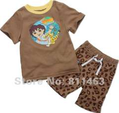 kids summer wear #L-073\ baby short sleeve 100% cotton pajamas \ free shipping