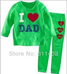 Children long sleeve green letter I LOVE DAD cotton pajamas #XC-156\ wholesale & retail\ free shipping