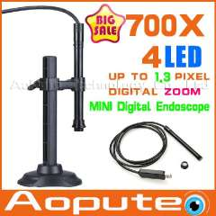 Free shipping, 700X 4LED USB Digital Microscope Endoscope Magnifier Camera Black, 10mm Diameter Waterproof Microscpoe A700X