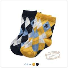 Rtw 2012 Winter Children's Clothing Color Block Decoration Plaid Embroidered Logo Cotton Socks Rkca23446