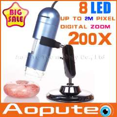 Aopute A200X 2014 HOT 1X TO 200X USB Microscope Support Multi Software Language+Holder Stand+Retail Box+Free Shipping