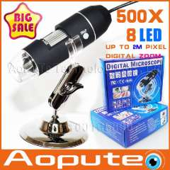 Newest Aopute in Promotion Endoscope Magnifier Camera 2.0MP With 8 LED 500X USB Digital Microscope, XR-M500, Free shipping