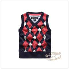 Rtw 2013 spring male child color block decoration plaid V-neck pullover woven vest rkbm31264