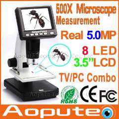 Aopute Professional Standalone Digital 500X Microscope Real 5.0MP 3.5' LCD Display With 8 LED SD Card Lithium Battery, AM500X