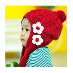 South Korean popular winter knit flower hat / child hat - red