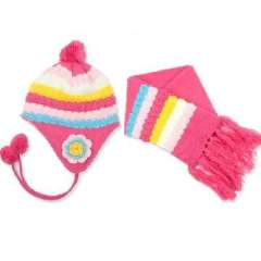 Korean version of the colorful pineapple pattern children hat scarf suit / baby insulation cap Set - Rose Red