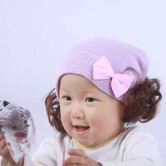 Double bow wig cap | Korean children hat | autumn and winter baby boomers cap | Purple