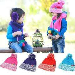 Korean version of the candy-colored buttons thick wool hat / ball cap / child warm hat
