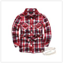 Rtw 2013 children's clothing medium-long 100% cotton check belt long-sleeve turn-down collar shirt rkcc03400