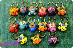 Little turtle multicolour turtle keychain polymer clay little turtle clay doll gift