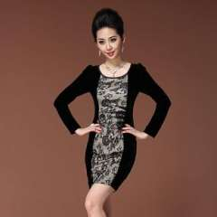 Shop agents | Hitz | Europe OL commuter retro lace stitching | long-sleeved dress Q13229