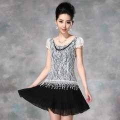 2013 summer new European and American ladies stitching lace pleated skirt dress (with beads) (Q13158)
