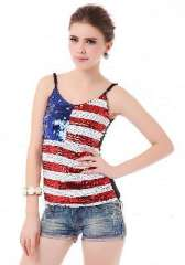 Stars stripes flag | United States | sequined camisole
