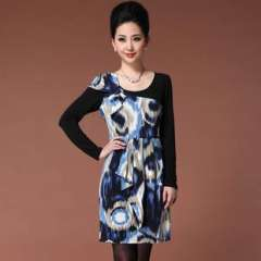 2013 European and American women's fall and winter clothes new elastic | long-sleeved camouflage printing | Dress (Q13178)