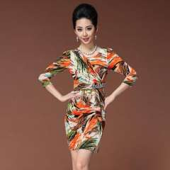 2013 Europe | superelastic fall and winter clothes fashion digital printing | sleeve | Slim Dress (Q13099)