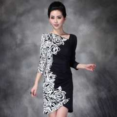 Shop explosion models | Europe new fall | Heavy black and white rose print design waist dress 1352