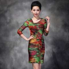 Shop explosion models | Europe new fall | irregular color printing waist big yards short sleeve dress Q12333
