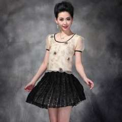 2013 summer new | European and American Heavy embroidered organza short-sleeved dress Q12312 | wholesale women