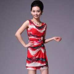 Factory Direct | Ice silk camouflage print | high fashion | 2012 summer | sleeveless dress Q12226